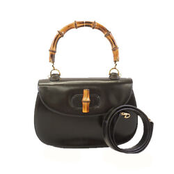 Pre-owned 000 1951 0633 Bamboo 2way Handbag Black Leather Free Shipping