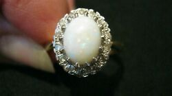 Vintage Quality 18ct Gold Opal And Diamond Ring London H/mkd 1978 Uk Size P 5.9 Gm