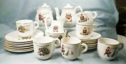 Antique Nursery Rhymes Toy Tea Set Old King Cole Miss Muffet Jack Candlestick