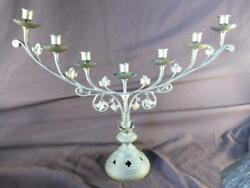 Antique Old Brass Large Gothic Church Candlestick Candelabra Menorah Religious