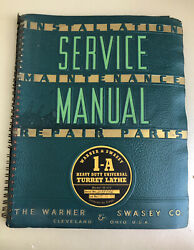 Warner Swasey 1-a Universal Turret Lathe Service And Repair Parts Manual 158-201