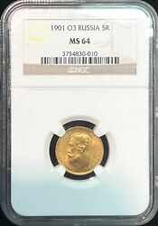 1901 O3 Russia 5 Roubles Nicholas Ii Gold Coin Ngc Ms 64