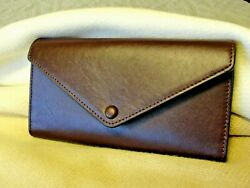 Nwt Cole Haan Womens Grand Series Trifold Flap Leather Wallet Burgundy Wine 128