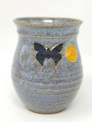 Vintage Cirah Pottery Muted Blue Gold Spot Butterfly Illuminated Candle Holder
