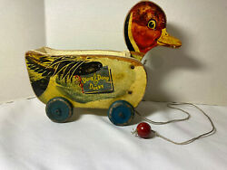 Antique Ding Dong Ducky 724 Wooden Pull Toy Cart Circa 1930's