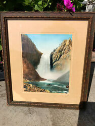 Vintage 1920and039s Yellowstone Falls Hand Tinted Photograph By Haynes