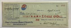 1955 Pepsi Cola Canceled Check First Citizens Bank And Trust Co Smithfield Nc