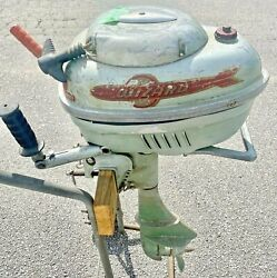 Antique 1940and039s Western Auto Wizard Wg4 7.5 Hp Outboard Boat Motor And Cart Stand