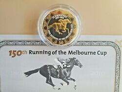 🐎 2010 150th Running Of The Melbourne Cup Gold Plated Silver Proof Coin 🐎