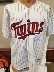 Gorgeous Kirby Puckett Autoand039d Minnesota Twins White Russell Athletic Jersey Psa