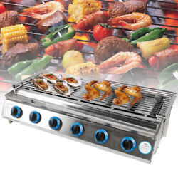 6 Burners Lpg Gas Bbq Grill Outdoor Camping Barbeque Device Home Roast Cooker Us
