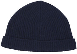 Brioni Menand039s Hat Beanie Wool And Silk Navy Blue Size L