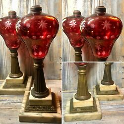 """C.1860 Boston And Sandwich Glass """"ruby Cut To Clear"""" 14"""" Fluid Whale Oil Lamp Set"""