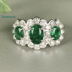Oval Shape Green Emerald And 1.00ct Natural Diamonds Halo Ring 14k White Gold