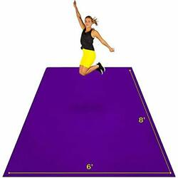 Large Exercise Mat 8and039 X 6and039 X 7mm | Ultra-durable Non-slip Rubber Workout Purple