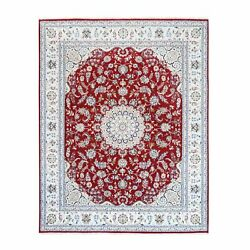 8and0391x10and0392 Wool And Silk Nain 250 Kpsi Medallion Design Hand Knotted Rug R62764