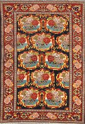 Excellent Antique Vegetable Dye Senneh Area Rug Hand-knotted Wool Oriental 5'x6'
