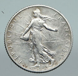1918 France La Semeuse Sower Woman Antique Old Silver 1 Franc French Coin I91391