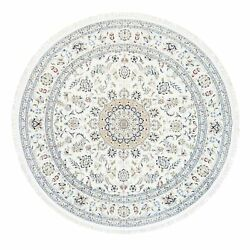 9and0399x9and0399 Round Ivory Hand Knotted 250 Kpsi Nain Wool And Silk Oriental Rug R62769