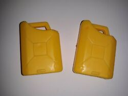 Vintage Miniature Yellow Toy Plastic Jeep Military Safari Gas Petrol Cans 1 3/4