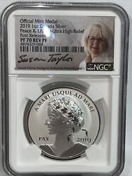 2019 1 Oz Silver Canada Peace And Liberty Ultra High Relief Rev Pf70 First Release
