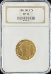 1786 A France 1 Land039or Gold Coin Ngc Ana Ms 60