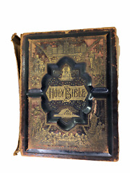 1891 Large Ornate Family Bible With Herring Family History Old King James/rsv