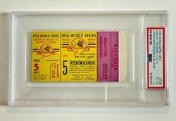 1956 World Series Don Larson Perfect Game Ticket Psa 4 With Display Signatures