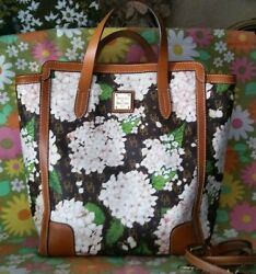 Dooney amp; Bourke Hydrangea North South Shopper Large White Brown touch of Pink $135.00