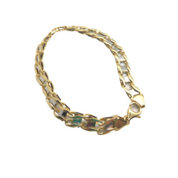 7mm Menand039s 14k Yellow And White Gold Railroad Link Bracelet