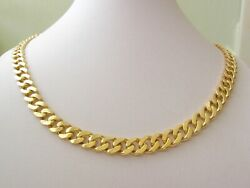 Heavy Genuine 9ct Solid Gold Unisex Flat Curb Chain Necklace With Parrot Clasp