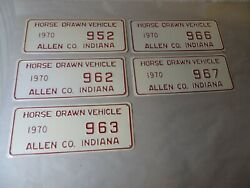 Lot Of 5 1970 Allen Co. Indiana Horse Drawn Vehicle License Plates Amish