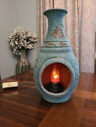 Southwest Native American Style Accent Table Lamp Flickering Euc Pottery Switch