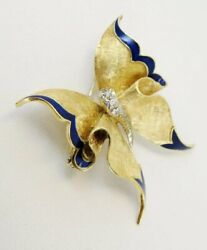 Vintage Ruth Satsky Signed 18k Gold Butterfly Pin Blue Enamel And Diamond Accent