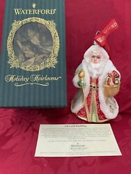 Mib Flawless Exceptional Waterford Art Glass Jolly Saint Nick Christmas Ornament