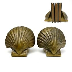 Vintage Pmc Solid Brass Scallop Clam Shell Seashell Bookends Heavy Nautical