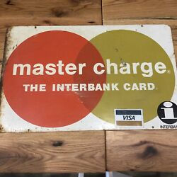 Vintage Master Charge Interbank Card Credit Card Advertising Metal Sign 2 Sided