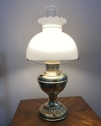 Beautiful Edward Miller Electrified Solid Brass Oil Lamp Over 100 Years Old