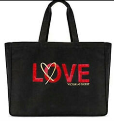 Victoria's Secret Red Embroidered LOVE Beach Bag Weekender Tote $20 Reward Card $25.00