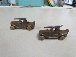 Lot Of 2 Vintage 1930's Barclay Manoil Wwi Cast Iron Military Tanks