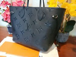Louis Vuitton Authentic Empreinte Black Neverfull MM Giant Bag with Pouch New $3299.00