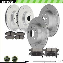 Front And Rear Brake Rotors Ceramic Pads For 16-17 Nissan Maxima 3.5l Drill And Slot