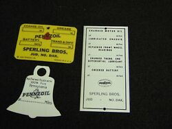 Vintage 1933 Pennzoil Gas Oil Advertising Smalls Sign Decal Pin Tag Bell Lot Nr
