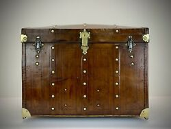 Vintage Leather Dome Top Steamer Trunk. Antique Travel Trunk Luggage.