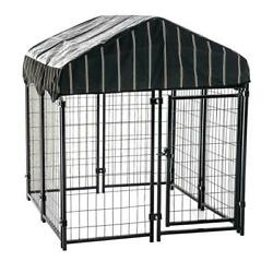 52 In. H X 4 Ft. W X 4 Ft. L Pet Resort Kennel With Cover   Dog Outdoor Cage Pen