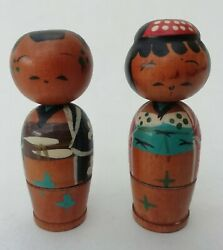 Male And Female Small Vintage Bobble Wobble Head Japanese Wooden Kokeshi Dolls