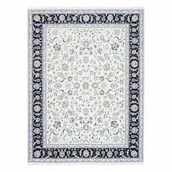 8and039x9and03910 Wool And Silk 250 Kpsi Nain Ivory With A Navy Blue Border Rug R62818