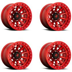 Set 4 17x9 Fuel D113 Covert Bl - Off Road Only 17x9 Candy Red 5x5 -38mm W/ Lugs