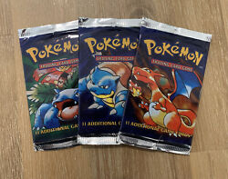 Pokemon Base Set Booster Pack Trio Factory Sealed 1999 Wotc.