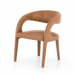31 H Abstract Open Curved Modern Dining Chair Brown Top Grain Leather Luxury